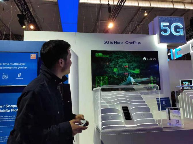 现场模拟5G云游戏场景 一加5G手机亮相MWC2019