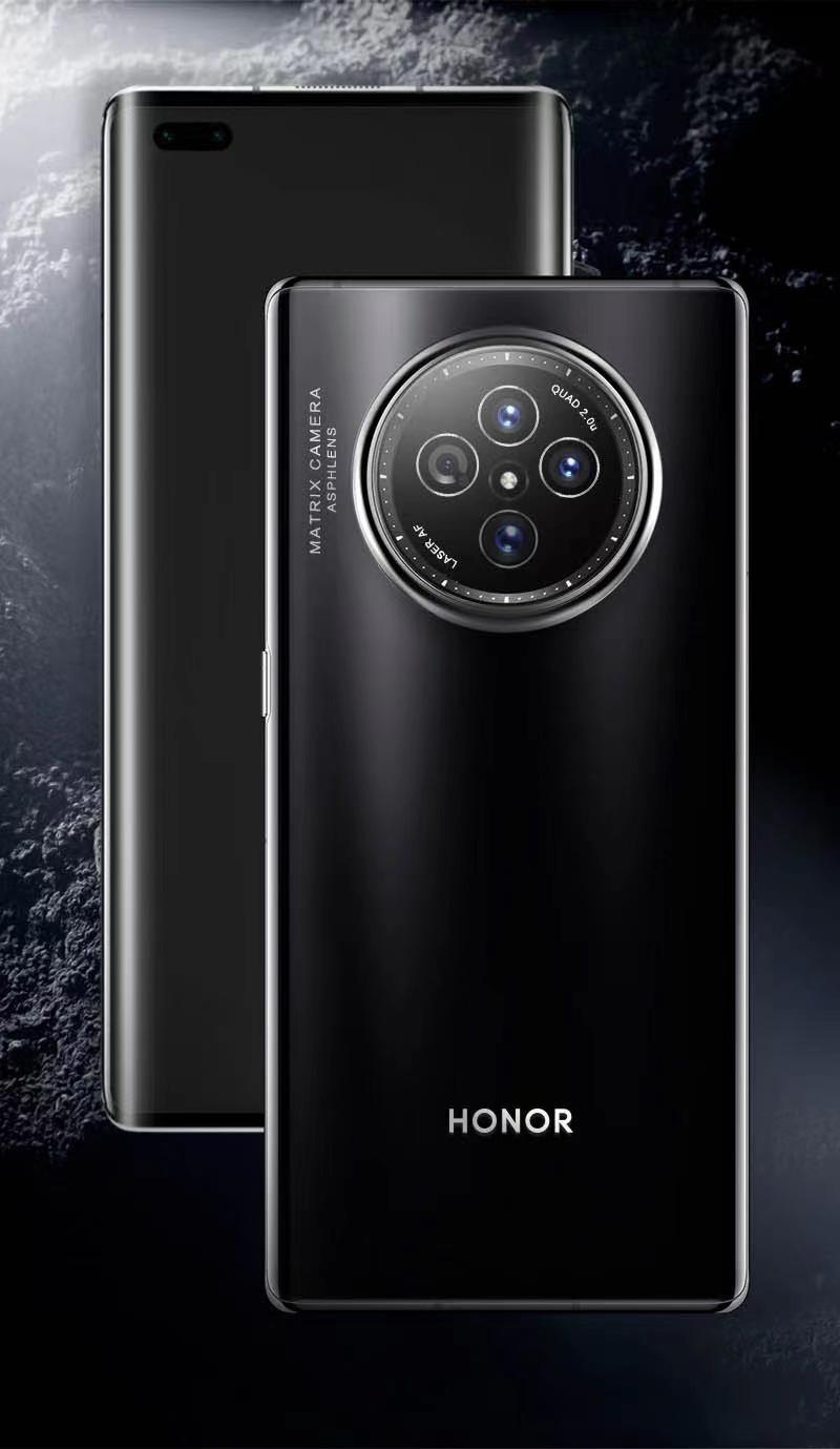 荣耀V40渲染图曝光:88°飞瀑屏、四眼表盘式摄像头组插图1