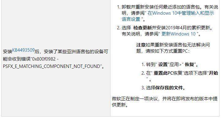 微软提供Win10更新失败建议:重装语言包或重置电脑(图2)