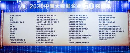2020中国大数据生态产业大会 华为云大数据连续四年荣登50强榜首