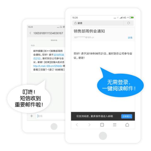 189邮箱特色服务�D免费短信提醒